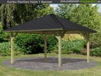 Karibu 4-Eck Pavillon Classic Holm 1 kdi Sparset inkl. Schindeln