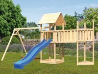 Akubi Spielturm Lotti Satteldach + Schiffsanbau oben + Doppelschaukel + Anbauplattform XL + Rutsche in blau