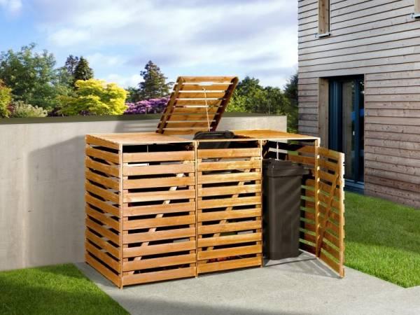 Weka Mülltonnenbox für 3 Tonnen in honigbraun