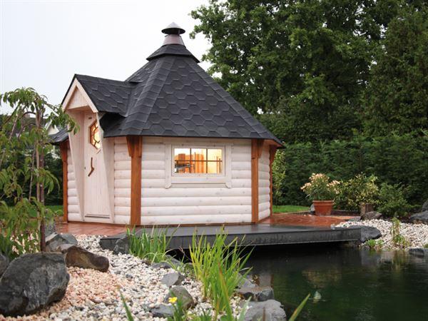 Wolff Finnhaus Grillkota 9 de luxe inkl. schwarzen Dachschindeln