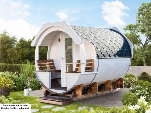 Wolff Finnhaus Saunafass Finja 1 komplett montiert mit schwarzen Dachschindeln