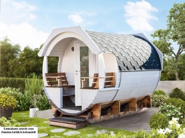 Wolff Finnhaus Thermoholz Saunafass Finja 1 komplett montiert mit schwarzen Dachschindeln