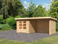 Karibu Woodfeeling Gartenhaus Bastrup 2 mit Schleppdach 3 Meter inkl. Rück-und Seitenwand