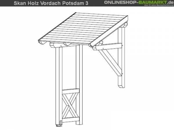 Skan Holz Vordach Potsdam 3 unbehandelt, 176 x 156 cm für Einzeltür