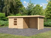 Karibu Woodfeeling Gartenhaus Oburg 4 natur mit Anbaudach 2,8 Meter inkl. Rück- und Seitenwand