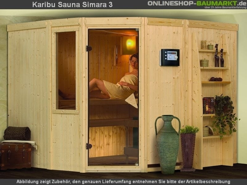 karibu elementsauna simara 3 68 mm 6 eck sauna eckeinstieg exklusive optik 3 liegen querliege. Black Bedroom Furniture Sets. Home Design Ideas