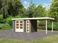 Karibu Woodfeeling Gartenhaus Kerko 5 terragrau mit Anbaudach 2,80 m