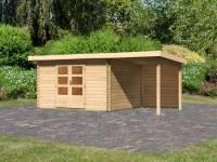 Karibu Woodfeeling Gartenhaus Bastrup 7 mit Anbaudach 2 Meter inkl. Rückwand