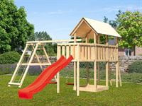 Akubi Spielturm Danny Satteldach + Rutsche rot + Doppelschaukelanbau Klettergerüst + Anbauplattform