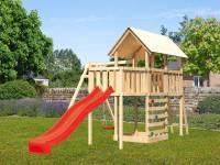 Akubi Spielturm Danny Satteldach + Rutsche rot + Einzelschaukel + Anbauplattform + Kletterwand