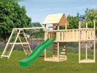 Akubi Spielturm Lotti Satteldach + Schiffsanbau oben + Doppelschaukel mit Klettergerüst + Anbauplattform XL + Kletterwand + Rutsche in grün