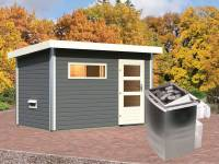 Karibu Aktionssaunahaus Erik 1 38 mm mit 9 kW Ofen integr. Strg terragrau