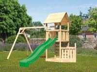 Akubi Spielturm Lotti + Schiffsanbau unten + Doppelschaukel + Kletterwand + Rutsche in grün