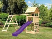 Akubi Spielturm Lotti- Doppelschaukel mit Klettergerüst, Kletterwand und Rutsche in violett