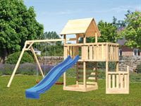 Akubi Spielturm Lotti + Schiffsanbau unten + Anbauplattform + Doppelschaukel + Kletterwand + Rutsche blau