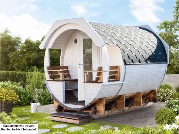 Wolff Finnhaus Saunafass Finja 2 Premium komplett montiert mit schwarzen Dachschindeln
