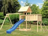 Akubi Spielturm Lotti Satteldach + Rutsche blau + Doppelschaukel + Anbauplattform XL + Netzrampe
