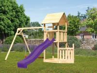 Akubi Spielturm Lotti + Schiffsanbau unten + Doppelschaukel + Netzrampe + Rutsche in violett