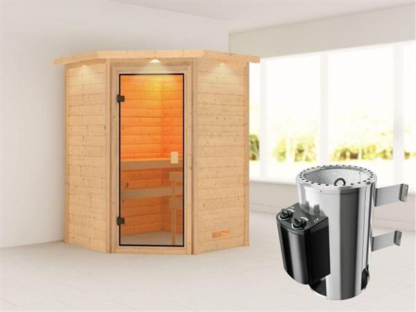 Karibu Sauna Antonia mit 3,6 kW Ofen integr. Strg und Dachkranz 38 mm