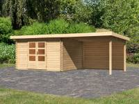 Karibu Woodfeeling Gartenhaus Bastrup 7 mit Anbaudach 3 Meter inkl. Rückwand
