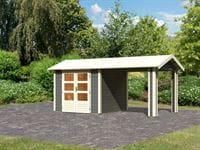 Karibu Woodfeeling Gartenhaus Tastrup 3 in terragrau mit einem Anbaudach 2,40 Meter