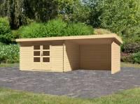 Karibu Woodfeeling Gartenhaus Bastrup 7 mit Schleppdach 3 Meter, Rück- und Seitenwand
