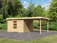 Karibu Woodfeeling Gartenhaus Oburg 6 natur mit Anbaudach 2,8 Meter