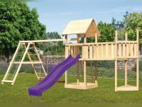 Akubi Spielturm Lotti Satteldach + Schiffsanbau oben + Doppelschaukel mit Klettergerüst + Anbauplattform XL + Rutsche in violett