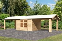 Karibu Woodfeeling Gartenhaus Tastrup 7 mit 2 Anbaudächern 3,00 Meter