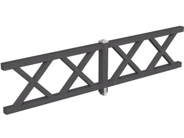 Skan Holz Brüstung für Pavillons 400 cm Andreaskreuz in schiefergrau
