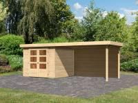 Karibu Woodfeeling Gartenhaus Askola 3,5 mit Anbaudach 2,8 m, Rückwand