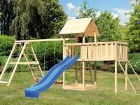 Akubi Spielturm Lotti Satteldach + Rutscheblau + Doppelschaukel Klettergerüst + Anbauplattform XL + Netzrampe
