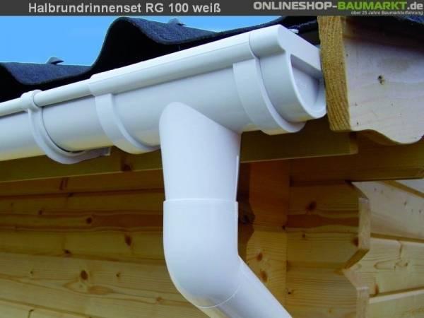 Dachrinnen Set RG 100 weiß 600 cm Carport
