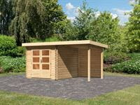 Karibu Woodfeeling Gartenhaus Bastrup 4 mit Anbaudach 2 Meter inkl. Rückwand