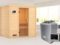 Karibu Sauna Selena mit 4,5 kW Ofen ext. Strg ohne Dachkranz