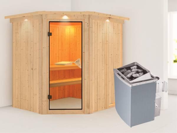 Siirin - Karibu Sauna inkl. 9-kW-Ofen - mit Dachkranz -