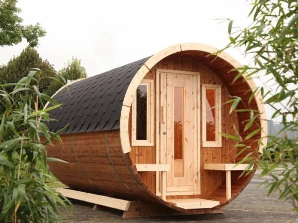 Wolff Finnhaus Campingfass 330, 1-Raum montiert mit schwarzen Dachschindeln