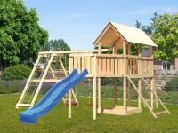 Akubi Spielturm Danny Satteldach + Rutsche blau + Doppelschaukelanbau Klettergerüst + Anbauplattform XL + Netzrampe