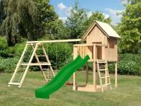 Akubi Spielhaus Frieda mit Doppelschaukel inkl. Klettergerüst und Rutsche in grün