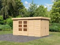 Karibu Woodfeeling Gartenhaus Retola 5 inkl. Anbauschrank