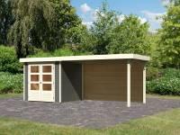 Karibu Woodfeeling Gartenhaus Askola 2 mit Anbaudach 2,8 m und Rückwand in terragrau