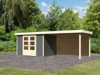 Karibu Woodfeeling Gartenhaus Askola 5 mit Anbaudach 2,8 m, Rückwand in terragrau