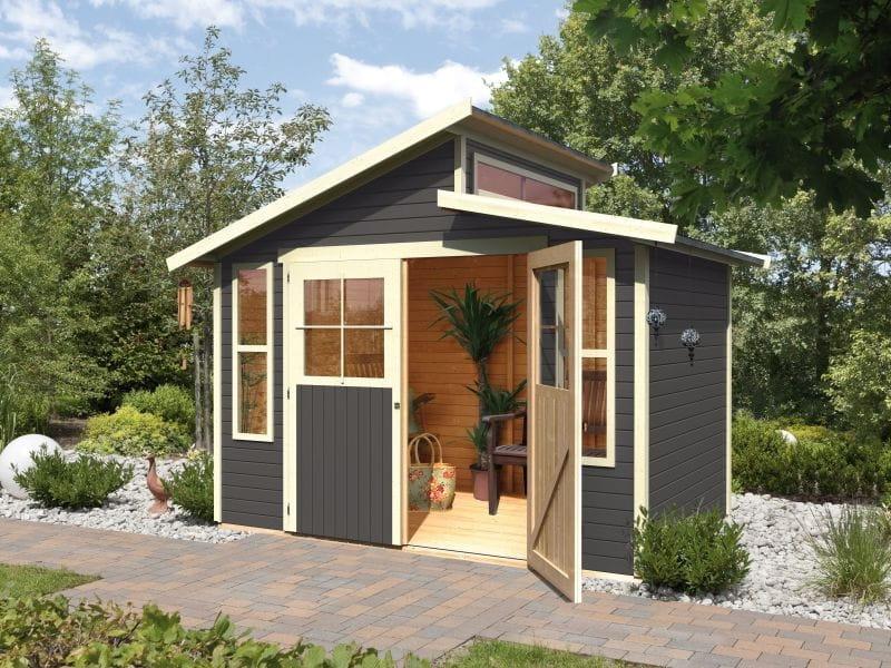 karibu gartenhaus grauburg 7 terragrau 19 mm sch nes. Black Bedroom Furniture Sets. Home Design Ideas