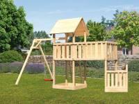 Akubi Spielturm Lotti + Schiffsanbau unten + Anbauplattform XL + Einzelschaukel