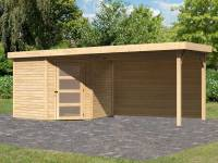 Karibu Woodfeeling Gartenhaus Schwandorf 5 natur mit Anbaudach 2,8 m inkl. Rückwand