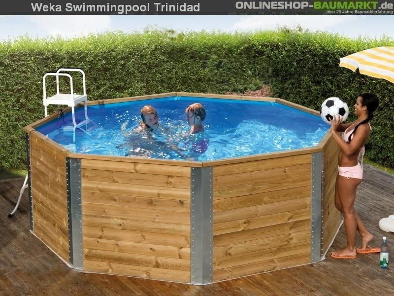 weka pool 593 komplett set kleiner massiver swimmingpool aus 45 mm blockbohlen sicherer. Black Bedroom Furniture Sets. Home Design Ideas