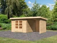 Karibu Woodfeeling Gartenhaus Bastrup 5 mit Schleppdach 2 Meter sowie Seiten- und Rückwand