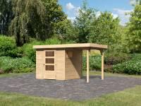 Karibu Woodfeeling Gartenhaus Oburg 2 natur mit Anbaudach 1,5 Meter