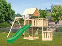 Akubi Spielturm Lotti + Schiffsanbau unten + Anbauplattform + Kletterwand + Einzelschaukel + Rutsche in grün