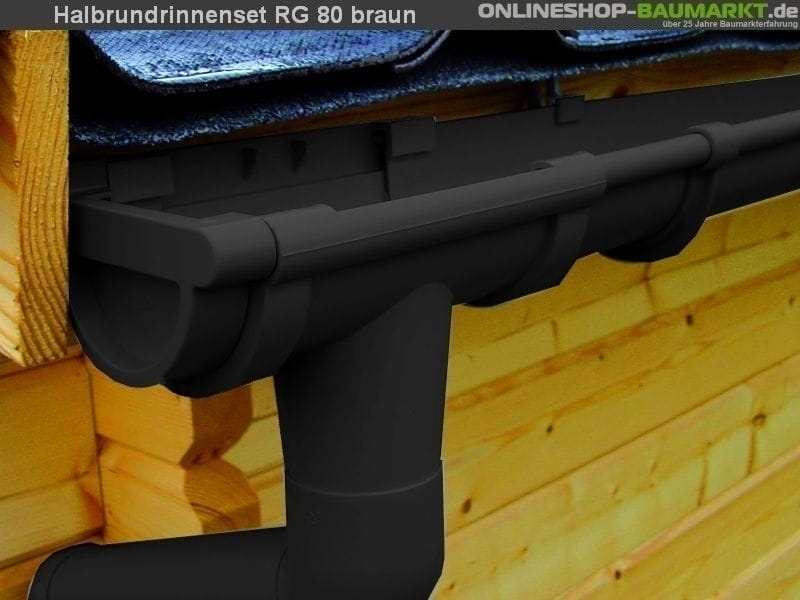 Dachrinnen Set RG 80 braun 4 x 600 cm Walmdach